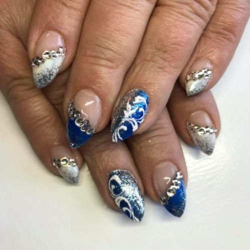 Sininen valkoinen-Kimalle timantit